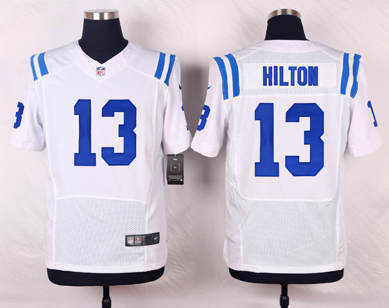 NFL Customize Indianapolis Colts 13 Hilton White Men Nike Elite Jerseys