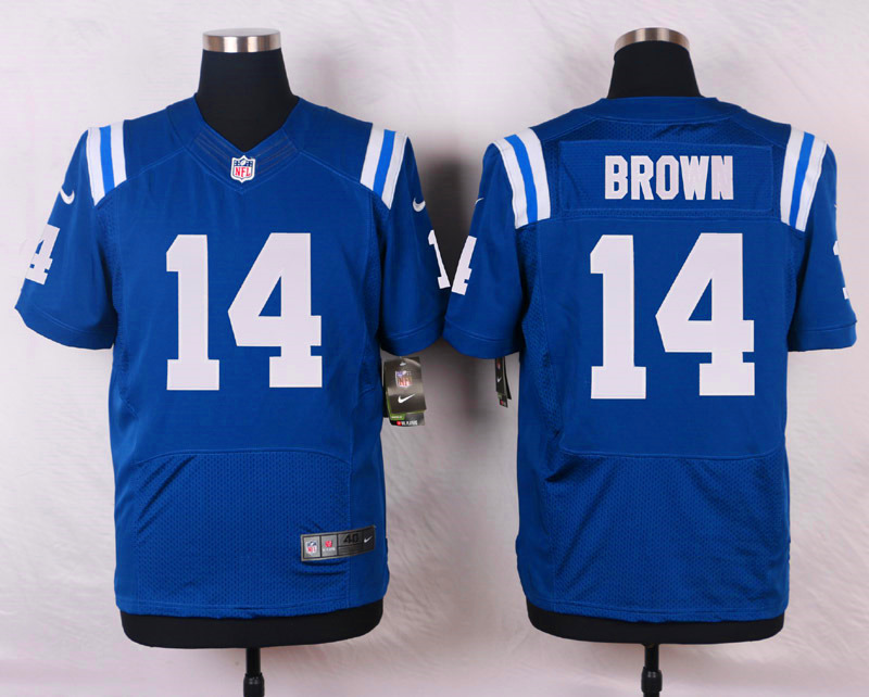 NFL Customize Indianapolis Colts 14 Brown Blue Men Nike Elite Jerseys