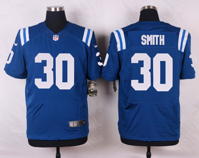 NFL Customize Indianapolis Colts 30 Smith Blue Men Nike Elite Jerseys