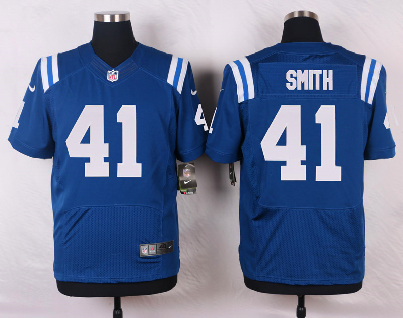 NFL Customize Indianapolis Colts 41 Smith Blue Men Nike Elite Jerseys