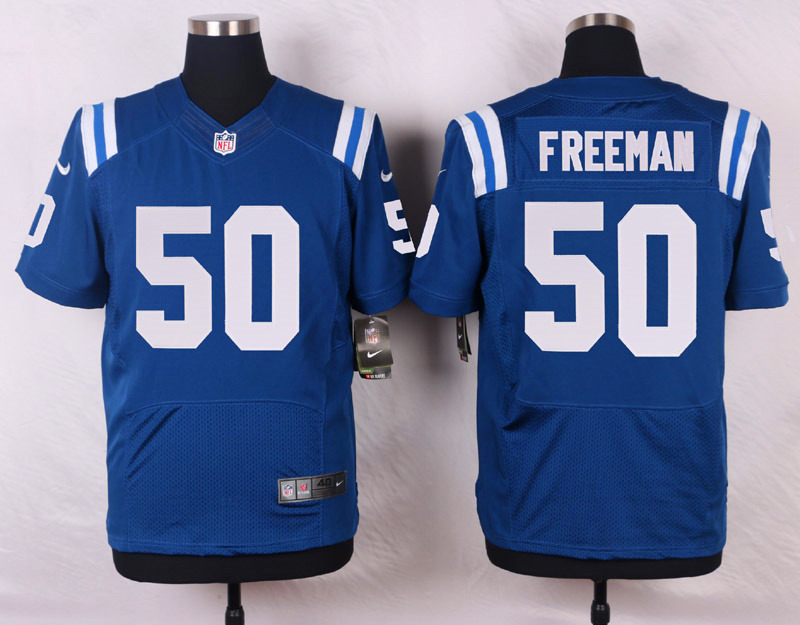 NFL Customize Indianapolis Colts 50 Freeman Blue Men Nike Elite Jerseys