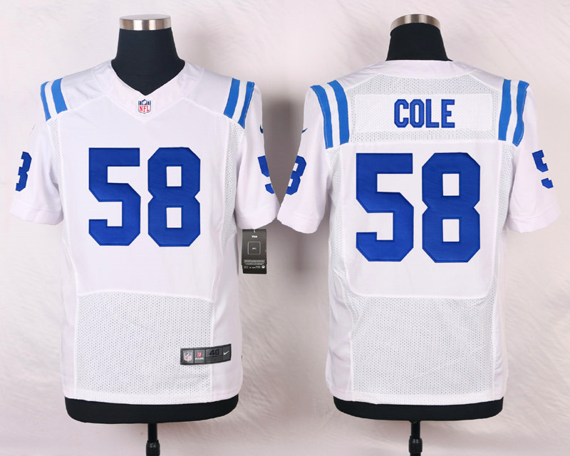 NFL Customize Indianapolis Colts 58 Cole White Men Nike Elite Jerseys
