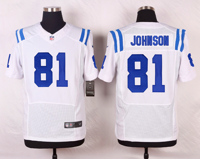 NFL Customize Indianapolis Colts 81 johnson White Men Nike Elite Jerseys