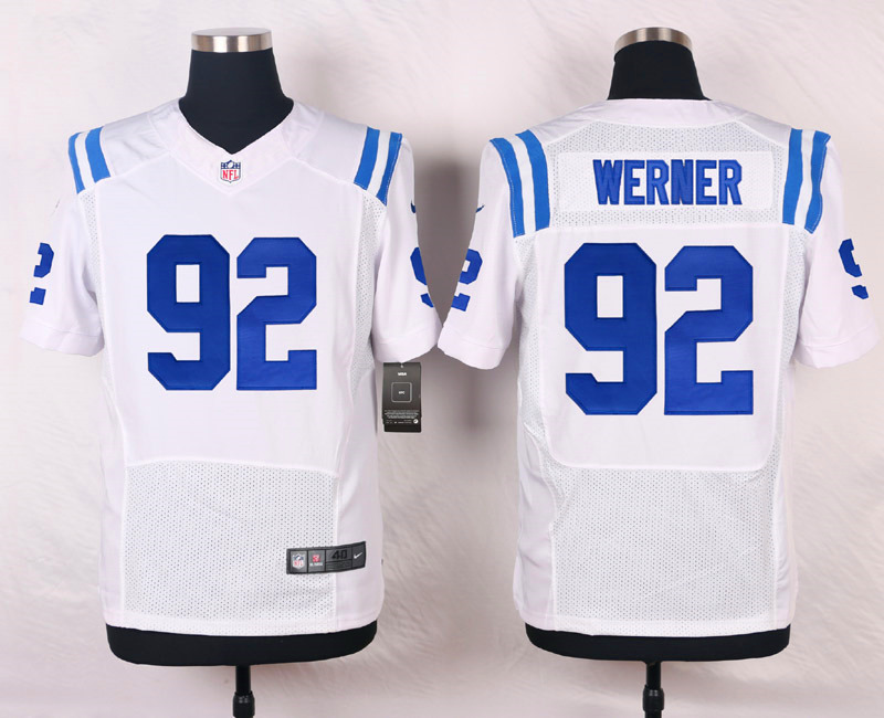 NFL Customize Indianapolis Colts 92 Werner White Men Nike Elite Jerseys