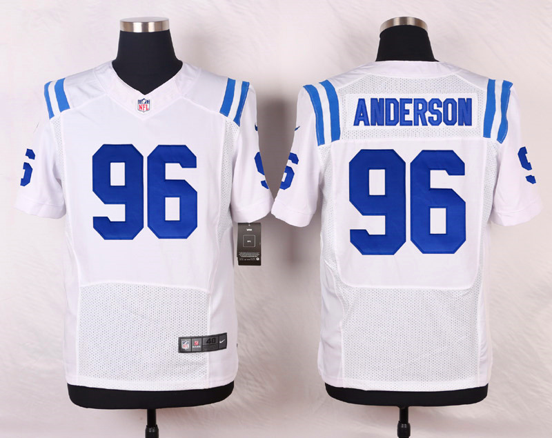 NFL Customize Indianapolis Colts 96 Anderson White Men Nike Elite Jerseys