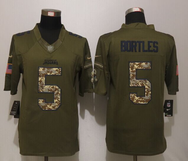 Jacksonville Jaguars 5 Bortles Green Salute To Service New Nike Limited Jersey