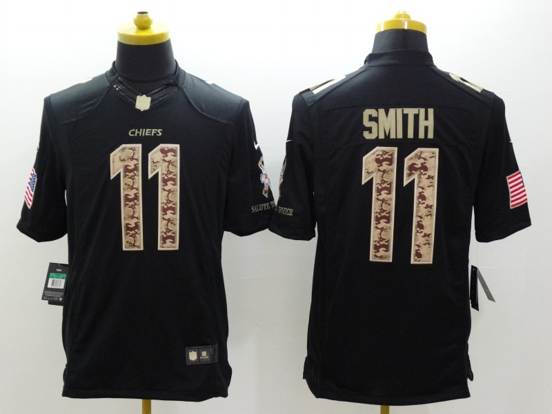 Kansas City Chiefs 11 Smith Black Nike Salute TO Service Jerseys