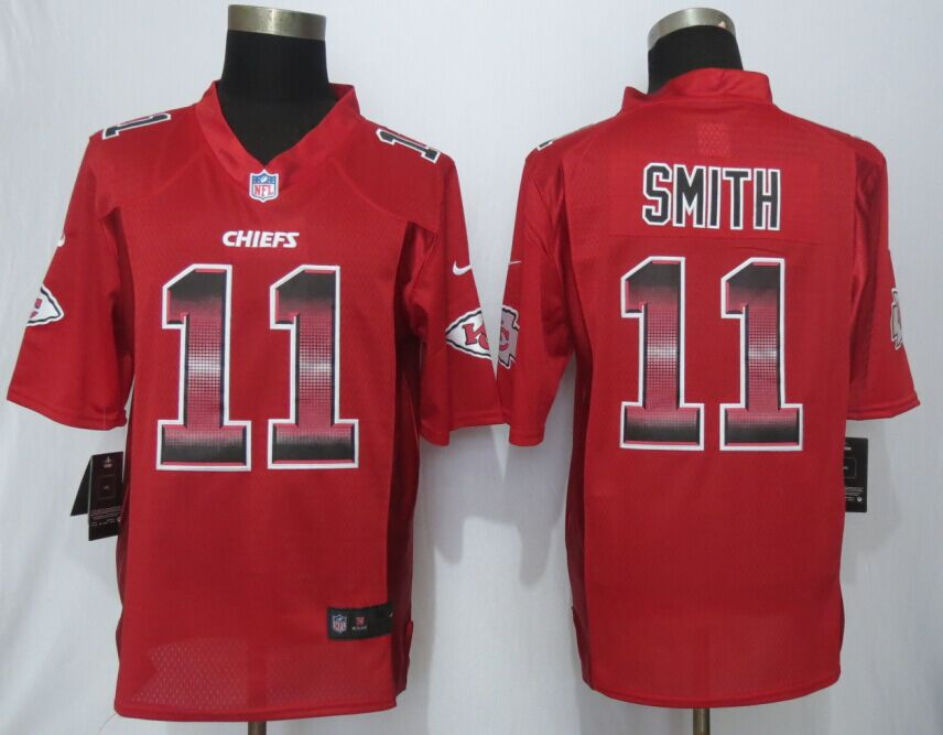 Kansas City Chiefs 11 Smith Red Strobe 2015 New Nike Limited Jersey