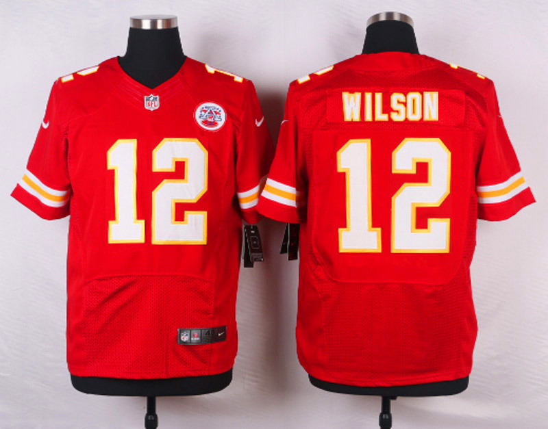 NFL Customize Kansas City Chiefs 12 Wilson Red Men Nike Elite Jerseys