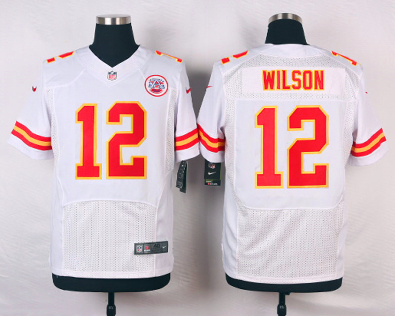 NFL Customize Kansas City Chiefs 12 Wilson White Men Nike Elite Jerseys
