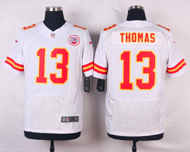 NFL Customize Kansas City Chiefs 13 Thomas White Men Nike Elite Jerseys