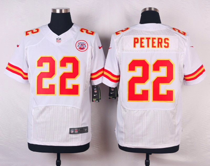 NFL Customize Kansas City Chiefs 22 Peters White Men Nike Elite Jerseys