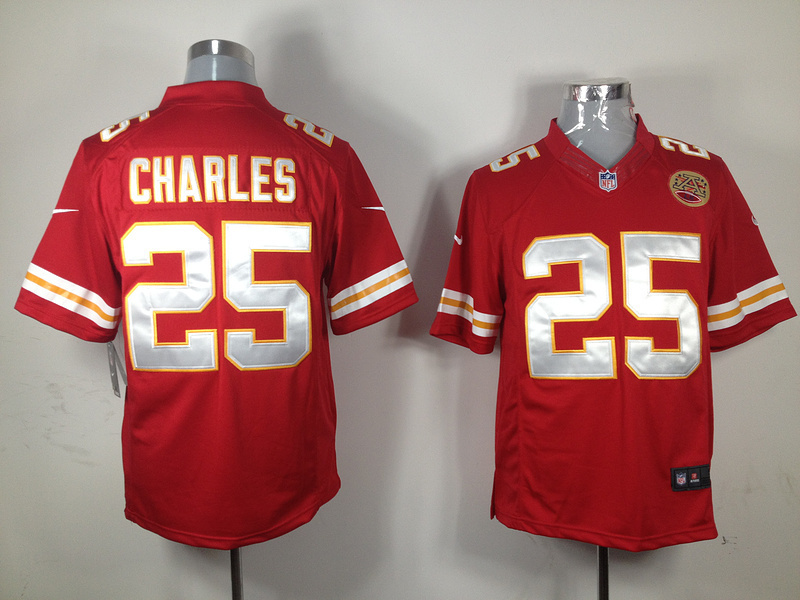 Kansas City Chiefs 25 Charles Red Nike Game Jersey