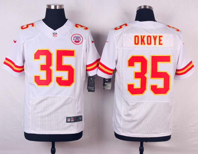 NFL Customize Kansas City Chiefs 35 Okoye White Men Nike Elite Jerseys