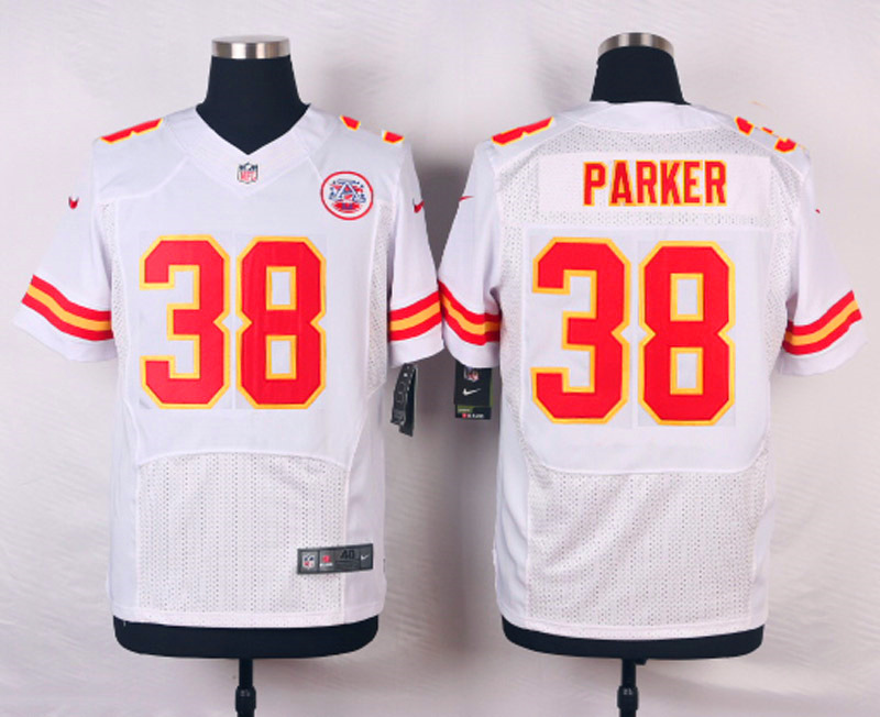 NFL Customize Kansas City Chiefs 38 Parker White Men Nike Elite Jerseys
