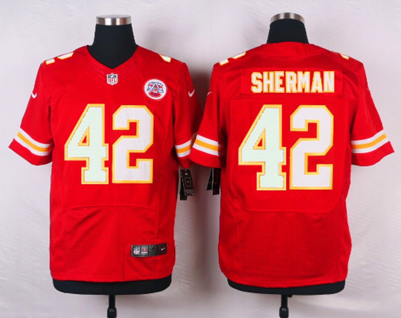 NFL Customize Kansas City Chiefs 42 Sherman Red Men Nike Elite Jerseys