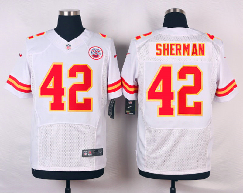 NFL Customize Kansas City Chiefs 42 Sherman White Men Nike Elite Jerseys