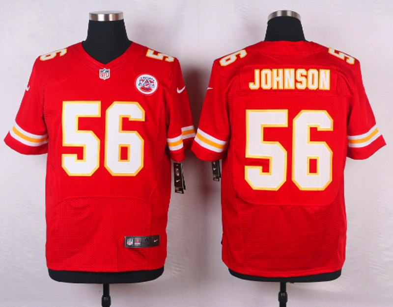 NFL Customize Kansas City Chiefs 56 Johnson Red Men Nike Elite Jerseys