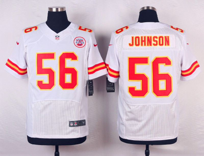 NFL Customize Kansas City Chiefs 56 Johnson White Men Nike Elite Jerseys