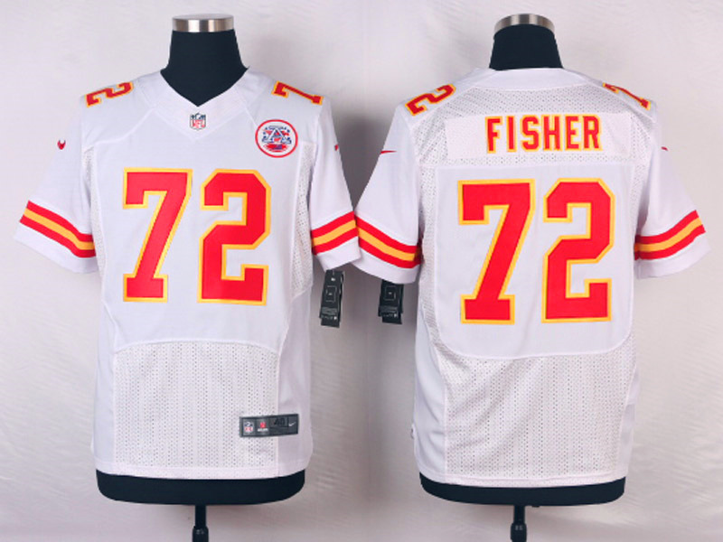 NFL Customize Kansas City Chiefs 72 Eric Fisher White Men Nike Elite Jerseys