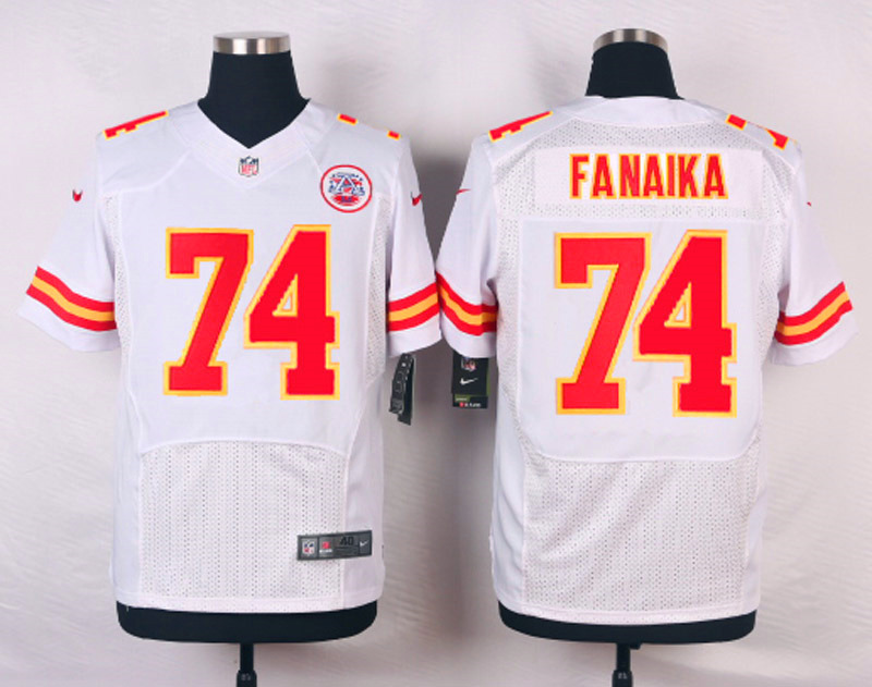 NFL Customize Kansas City Chiefs 74 Fanaika White Men Nike Elite Jerseys