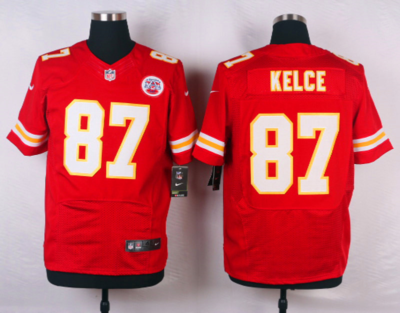 NFL Customize Kansas City Chiefs 87 Kelce Red Men Nike Elite Jerseys