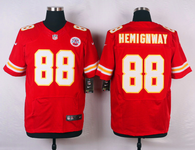 NFL Customize Kansas City Chiefs 88 Hemingway Red Men Nike Elite Jerseys