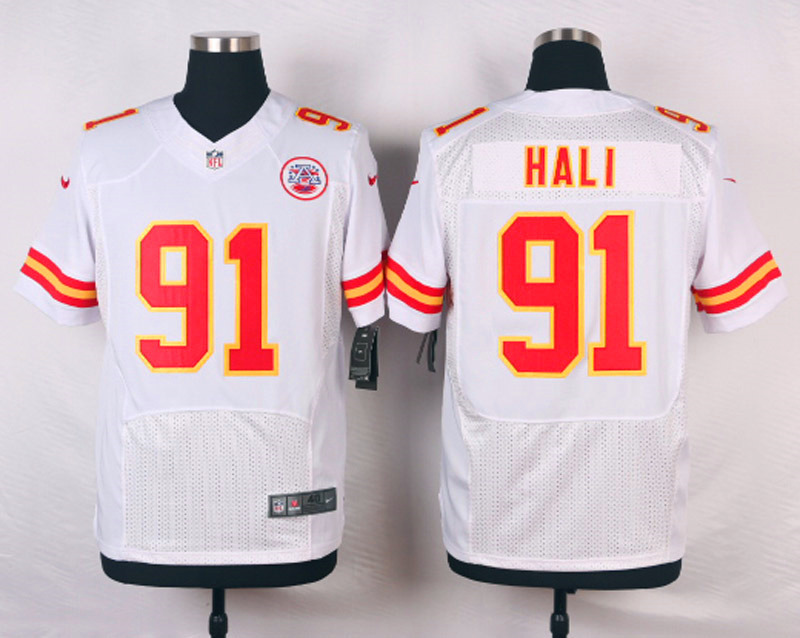 NFL Customize Kansas City Chiefs 91 Hali White Men Nike Elite Jerseys