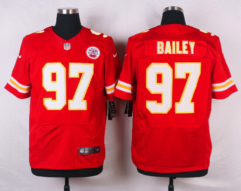 NFL Customize Kansas City Chiefs 97 Bailey Red Men Nike Elite Jerseys