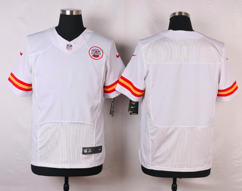 NFL Customize Kansas City Chiefs Blank White Men Nike Elite Jerseys