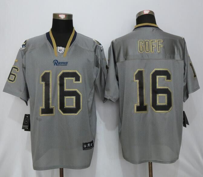 Los Angeles Rams 16 Goff Lights Out Gray New Nike Elite Jerseys