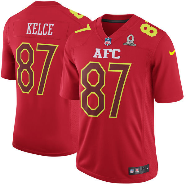 Men AFC Kansas City Chiefs 87 Travis Kelce Nike Red 2017 Pro Bowl Game Jersey