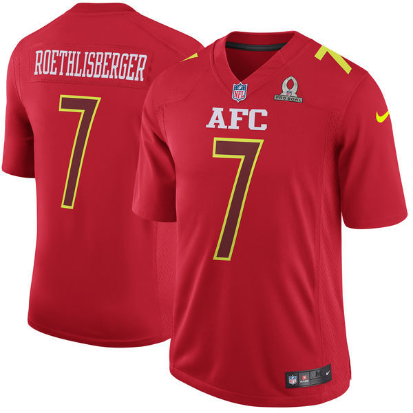 Men AFC Pittsburgh Steelers 7 Ben Roethlisberger Nike Red 2017 Pro Bowl Game Jersey