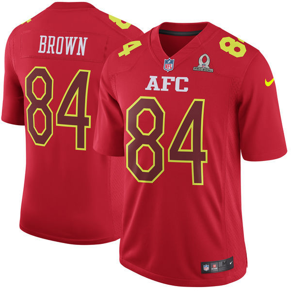 Men AFC Pittsburgh Steelers 84 Antonio Brown Nike Red 2017 Pro Bowl Game Jersey