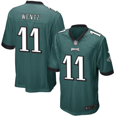 Men Philadelphia Eagles 11 Carson Wentz Nike green 2016 Draft Pick Elite Jersey