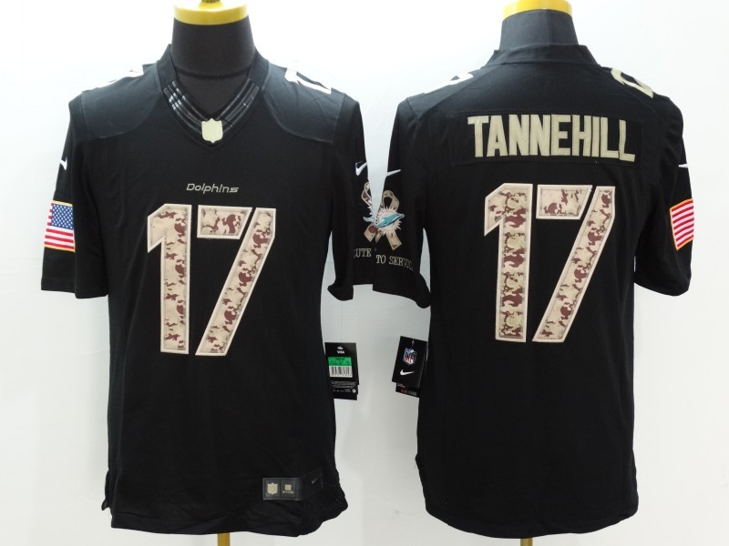 Miami Dolphins 17 Tannehill Black Nike Salute TO Service Jerseys