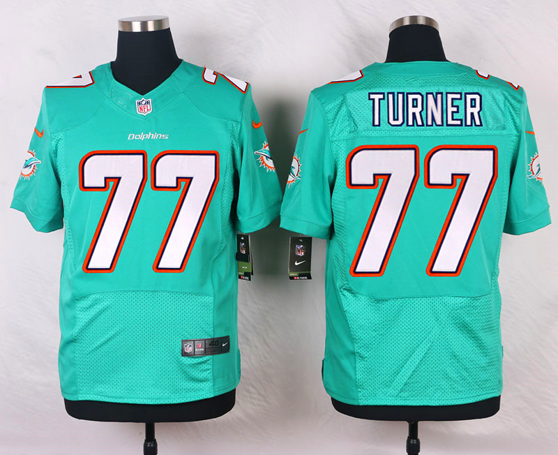 NFL Customize Miami Dolphins 77 Turner Green Men Nike Elite Jerseys