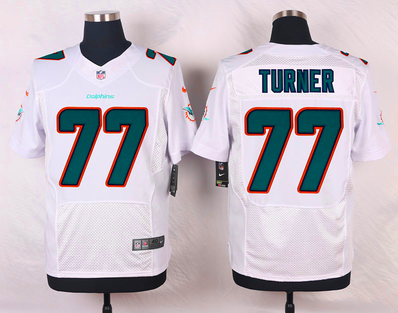 NFL Customize Miami Dolphins 77 Turner White Men Nike Elite Jerseys