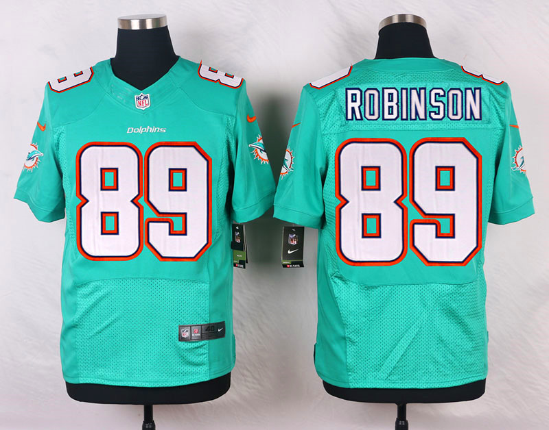 NFL Customize Miami Dolphins 89 Robinson Green Men Nike Elite Jerseys