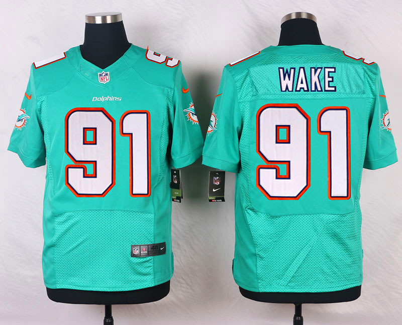 NFL Customize Miami Dolphins 91 Wake Green Men Nike Elite Jerseys