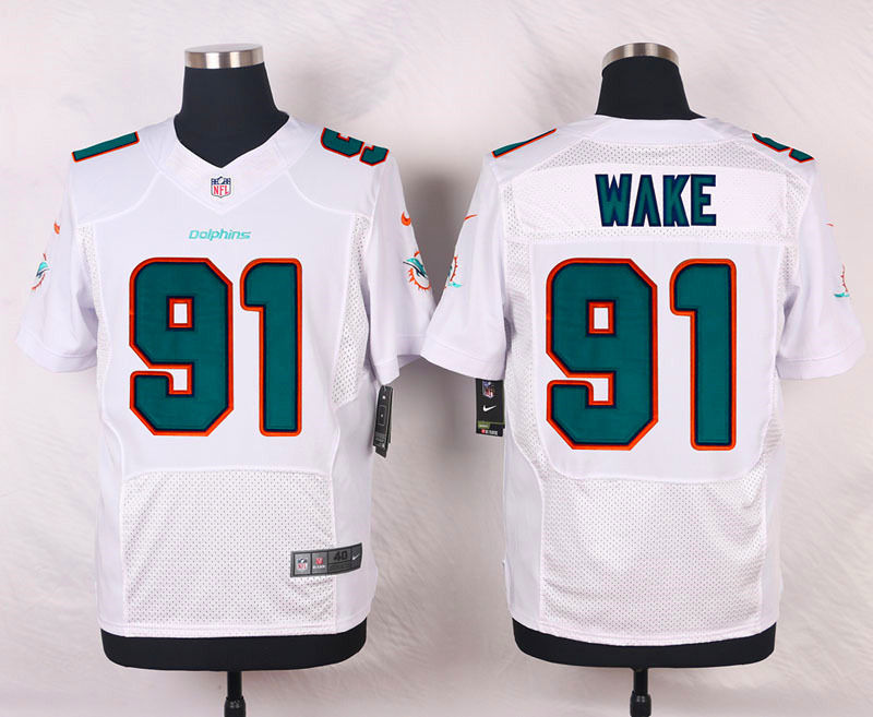 NFL Customize Miami Dolphins 91 Wake White Men Nike Elite Jerseys