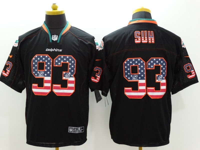 Miami Dolphins 93 Suh USA Flag Fashion Black Nike Elite Jerseys