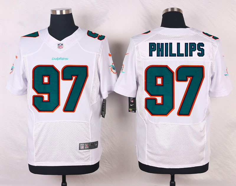 NFL Customize Miami Dolphins 97 Phillips White Men Nike Elite Jerseys