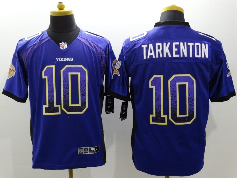 Minnesota Vikings 10 Tarkenton Purple Drift Fashion Nike Elite Jerseys