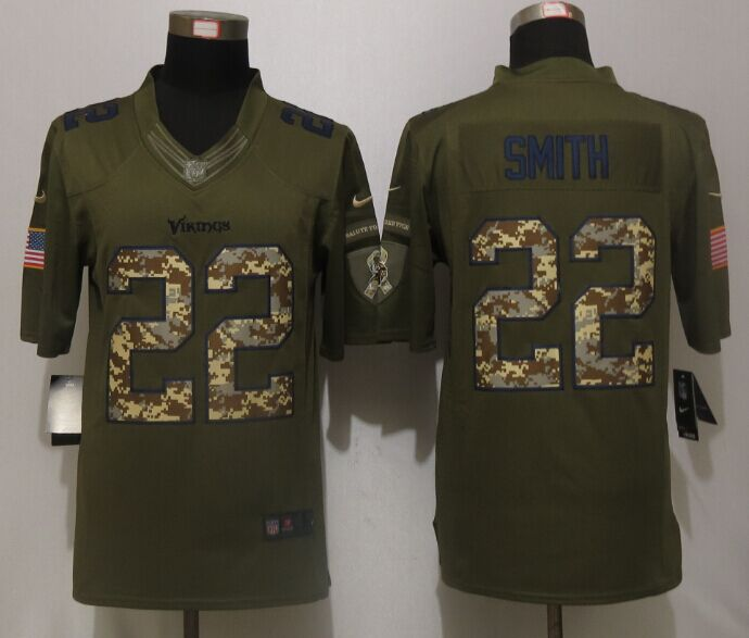Minnesota Vikings 22 Smith Green Salute To Service New Nike Limited Jersey.