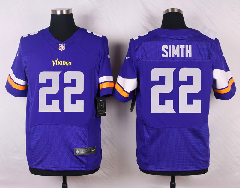 NFL Customize Minnesota Vikings 22 Smith Purple Men Nike Elite Jerseys