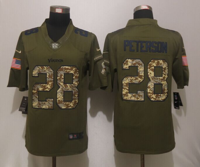 Minnesota Vikings 28 Peterson Green Salute To Service New Nike Limited Jersey