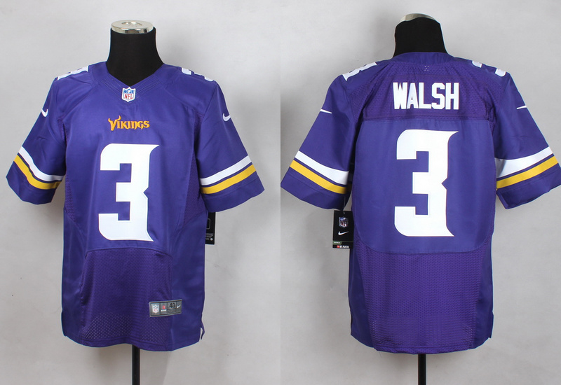 Minnesota Vikings 3 Walsh Purple Men Nike Elite Jerseys
