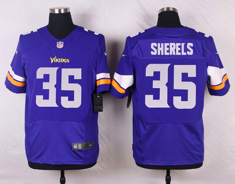 NFL Customize Minnesota Vikings 35 Sherels Purple Men Nike Elite Jerseys