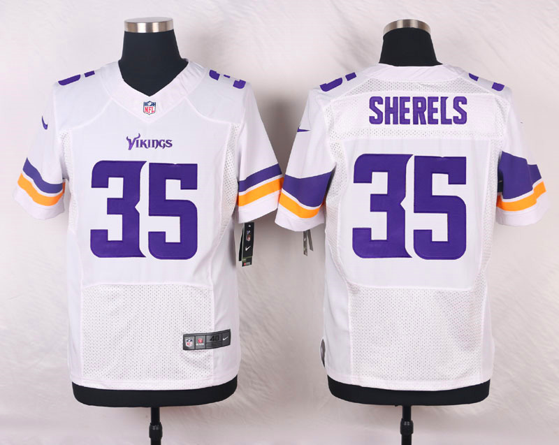 NFL Customize Minnesota Vikings 35 Sherels White Men Nike Elite Jerseys